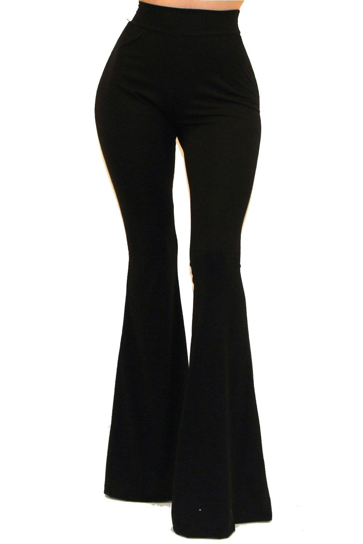 Vivicastle Women's Boho Solid Hippie Wide Leg Flared Bell Bottom Pants (Medium, Black)