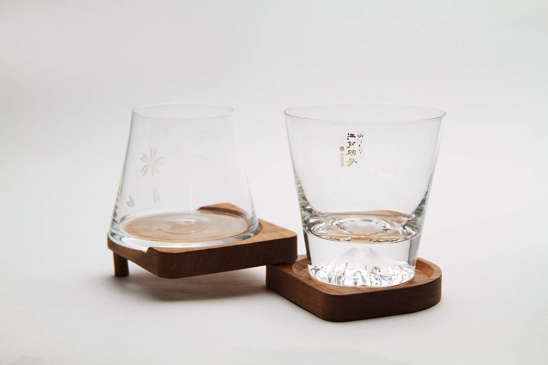 Mars Planning [Premium Gift Set] Tajima Glass Mount Fuji Base Fujisan Glass Set Fuji Glass / Fujisan Hoei Glass (Clear) / With Wooden Coaster by Mars (Image #2)