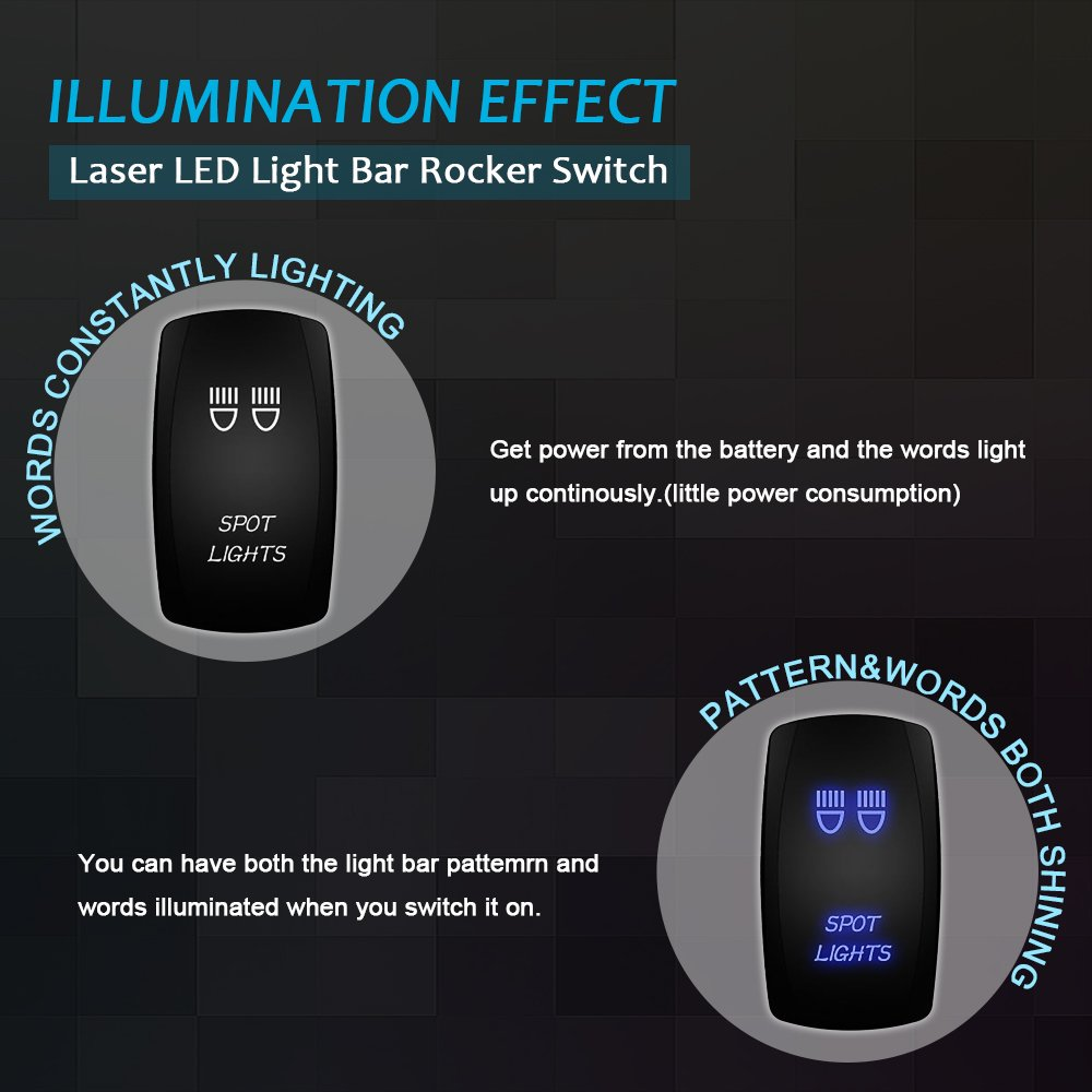12v Relay 2 Lead Wiring Rocker Switch Kit For Led Spotlights Work Fog Light Toggle Bar
