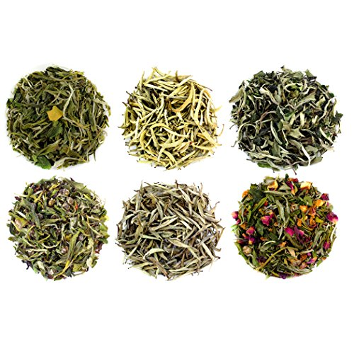 Boutique Grade Loose Leaf White Tea Sampler (6 Variety Box); Rare Small Lot White Tea Including Bai Mu Dan, Drum Mountain, Lavender Rose, White Dragon, Etc.