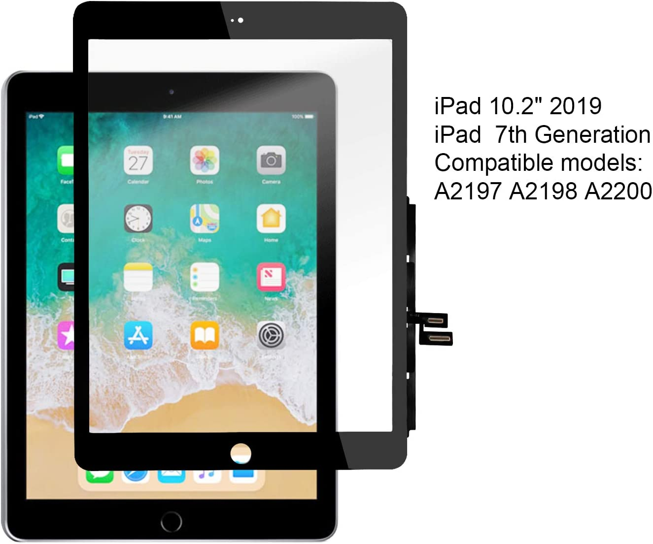 YEECHUN Touch Screen Digitizer for iPad 7 2019 7th Gen 10.2 A2197 A2198 A2200 Front Glass Replacement Without The Home Button, Tool Repair kit Included