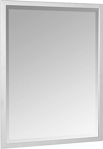 Head West 24 x 30 Classic Brush Nickel 1 in. Wide Metal Frame Wall Mirror