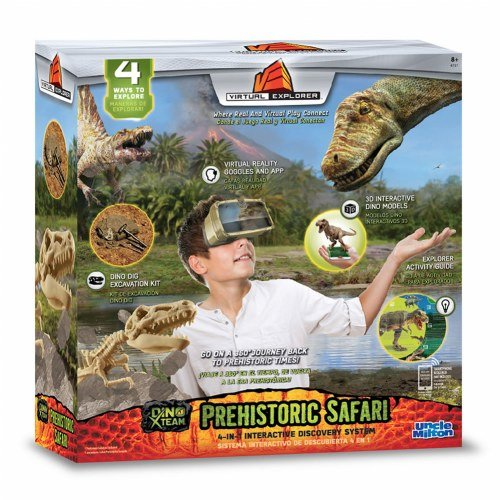 Virtual Explorer Prehistoric Safari 4-in-1 VR, AR, hands-on play and learning system with Dino Excavation Kit, VR Goggles and App, Augmented Reality cards and Explorer Guide