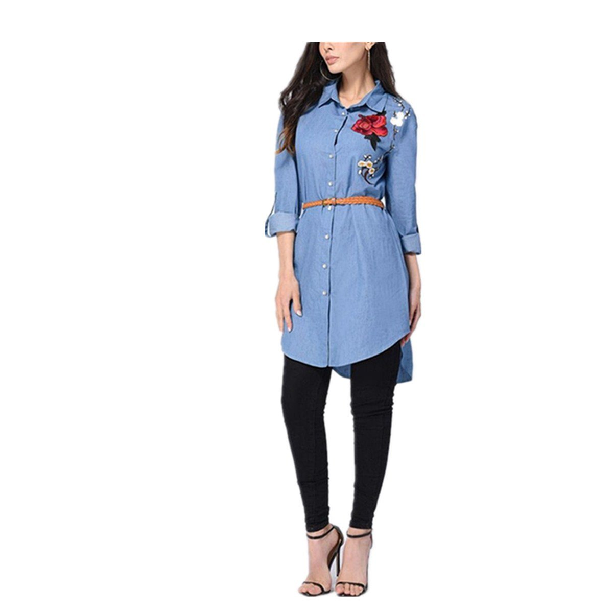 Nuovo Camicia rcamata manica lunga Koly Le camice lunghe del collare del vestito dalla camicia del collare ricamano le donne lunghe del manicotto Rosa