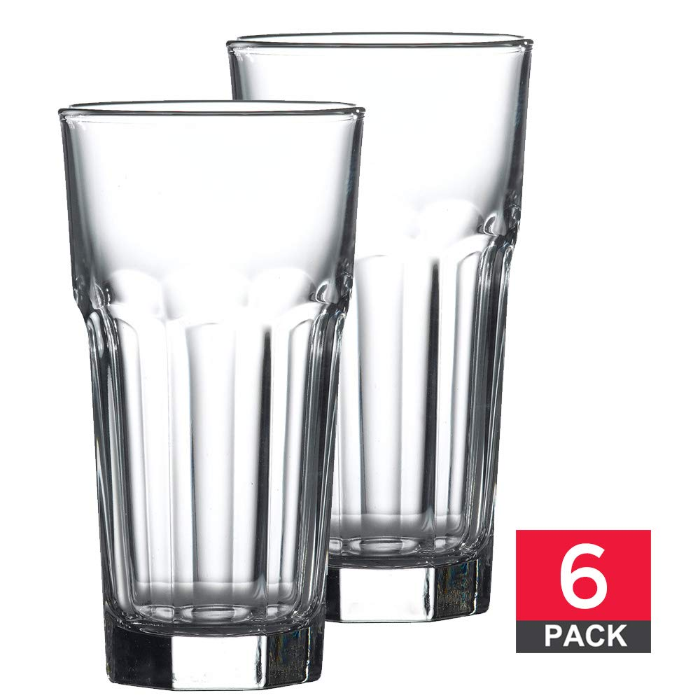 Drinking Highball Glasses Set, Premium Quality Glass Tumbler, Clear Glass, 12 ¼ oz, 6 Piece Glassware