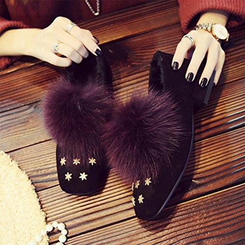Zh De Avec D'hiver Mode Cachemire Carrées Et C Chaussures Basses Automne Hiver Des Fourrure La Paresseuses Plus rrfUpw