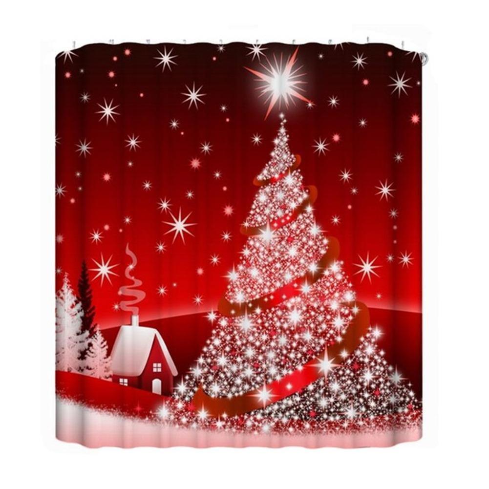 Rideau De Douche Anti Moisissure Rideau De Douche De Noël Imperméable Impression Numérique 3D D'arbre De Noël Rouge, Bel Aspect, Portable Et Durable Cathy02Marshall