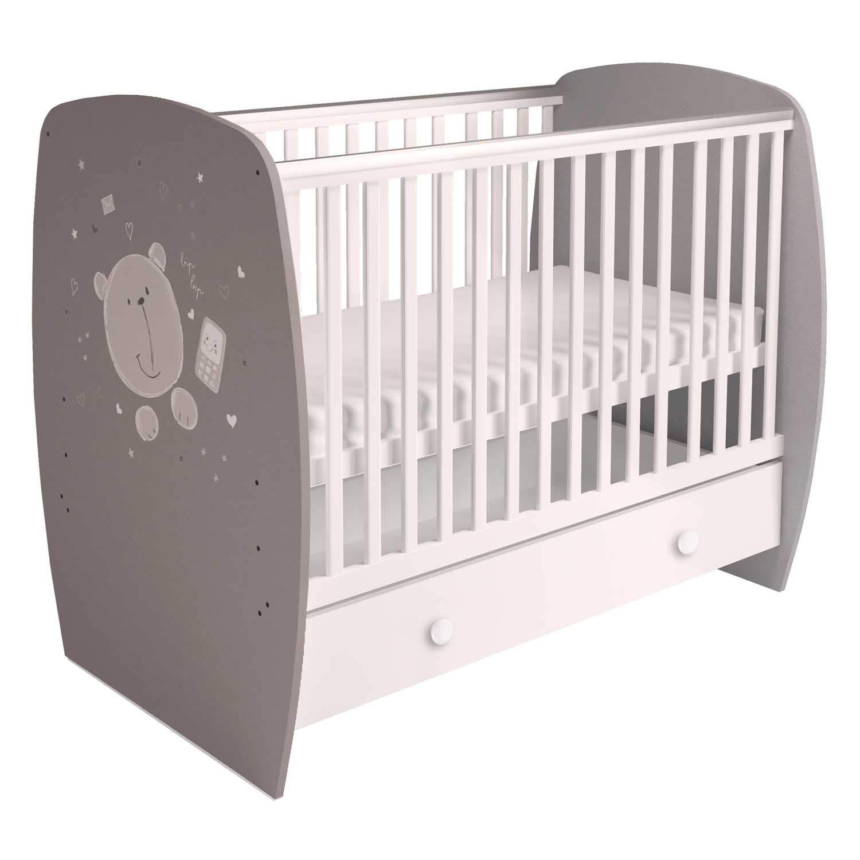 Teddy grau weiss Polini Kids Babybett Kinderbett Gitterbett French Collection Modell 710 mit ausziehbarer Schublade mit Schublade mit verschiedenen Motive und Farben