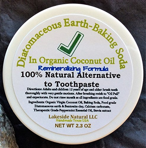 (All Natural Toothpaste Alternative with Diatomaceous Earth and Baking Soda in Organic Coconut Oil Plus Remineralizing & Oil Pulling - Whiter Teeth & Fresh Breath 12 hr)