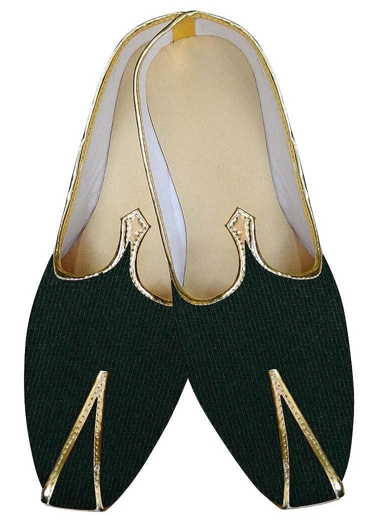 INMONARCH Mens Indian Bridal/Shoes Forest Green Wedding Footwear MJ015883