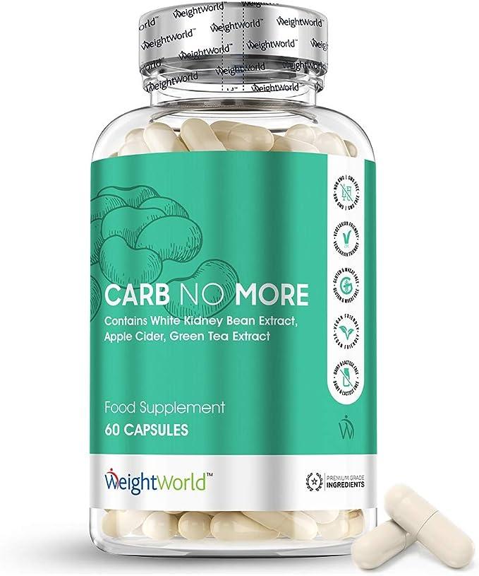 Bloqueador de Carbohidratos Carb No More 60 Cápsulas | Suplemento Natural Con Extracto de Judía Blanca, CLA, Té Verde y Vinagre de Manzana, Rico en ...