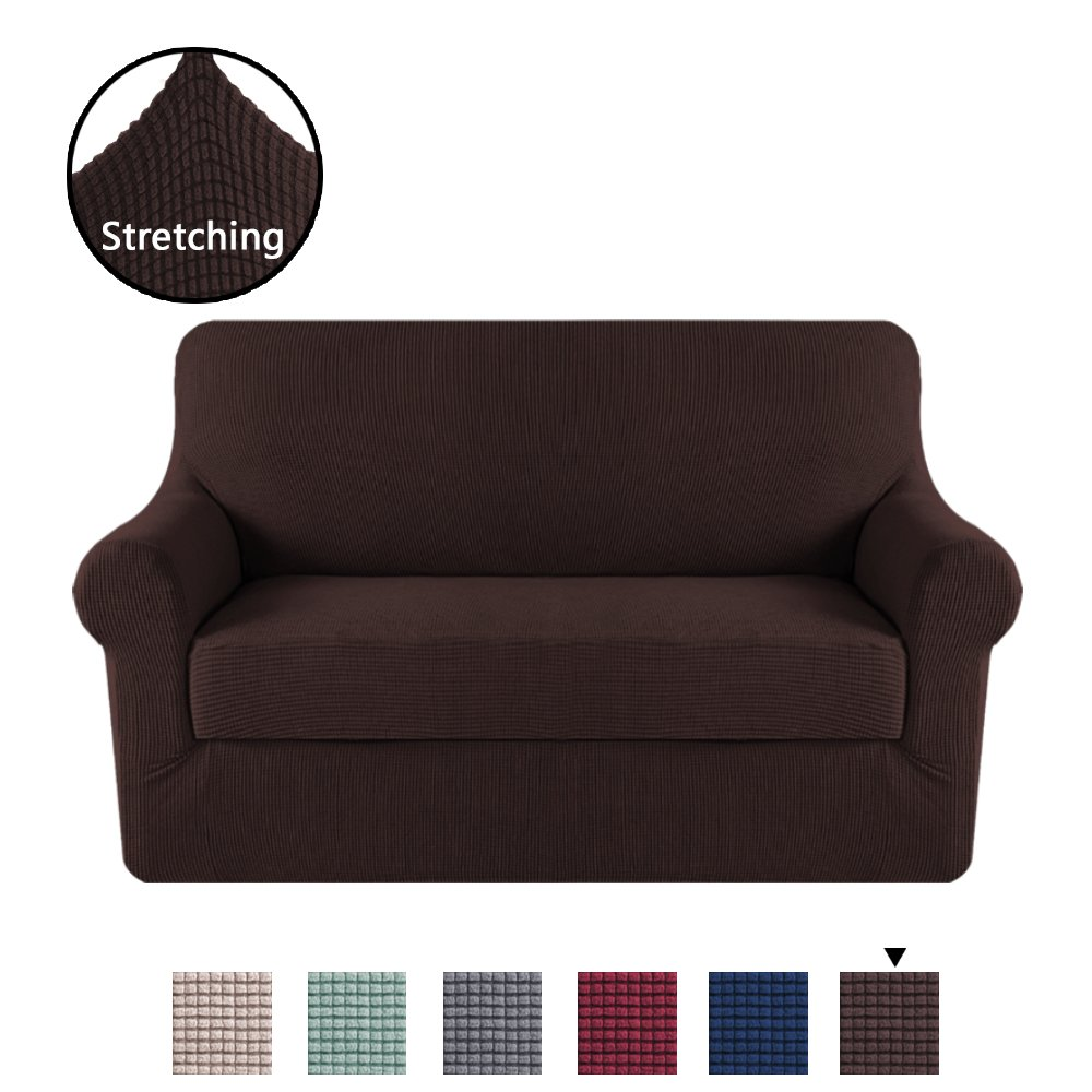 H.VERSAILTEX 2 Separate Pieces Stretching Skid Resistance Slipcover/Furniture Cover for Loveseat, Thick and Durable Lycra Jacquard Sofa Cover, Easy to Put on, Brown (2 Seater)