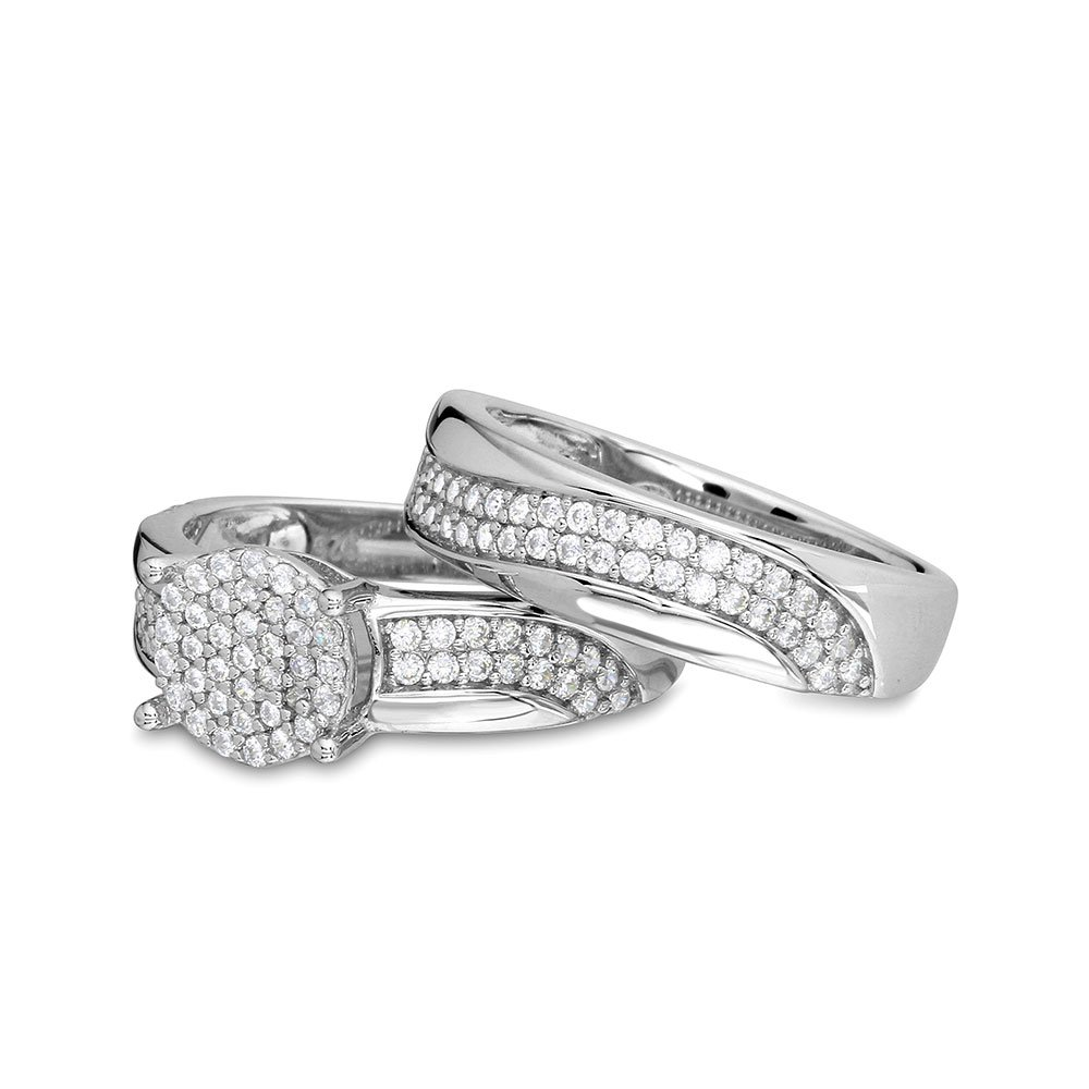 Round Pave Center Cluster Cubic Zirconia Wavy Design Wedding Ring Sterling Silver