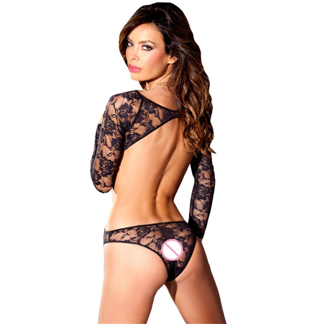 XGNY Bodysuit Women Perspective Black Rose Lace Rompers Backless Long Sleeves Babydoll Teddy Jumpsuit