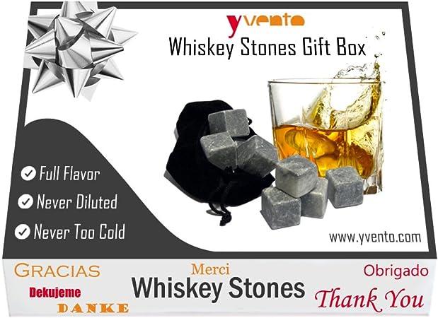 Whiskey Stones o Piedras del Whisky - No Aguan el Licor - Regalo Original - Set de 9 Rocas de Esteatita Natural y Bolsa para Guardarlas Son ...