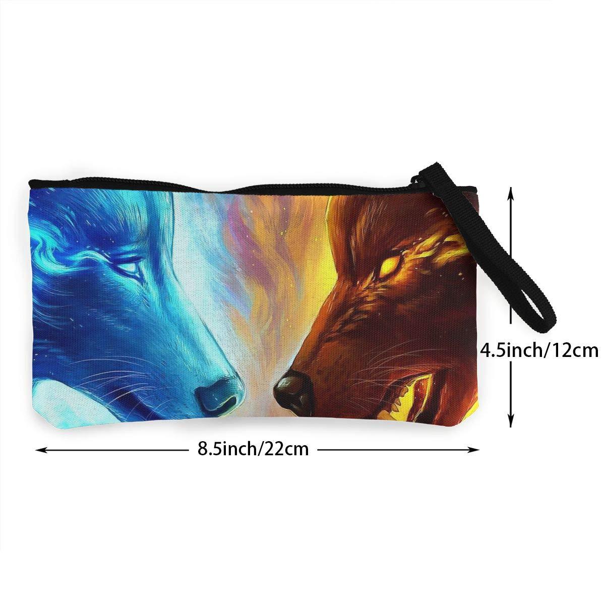 Amazon.com: Monedero de lienzo para dinero, Ice Wolf VS Fire ...