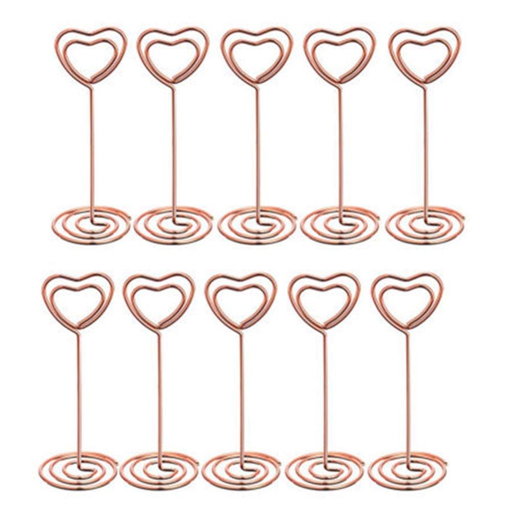 MAXGOODS Set von 12 herzförmige Tischnummer Tischkartenhalter stehen Clips Hochzeit Event Name Clips(Gold)