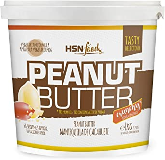 Oferta amazon: Mantequilla de Cacahuete de HSN | Textura Crujiente - Peanut Butter Crunchy - 100% Natural | Apto Vegetariano, Sin grasa de palma, Sin grasa trans, Sin azúcar ni sal añadidos, 1000g