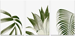 "NWT 3 Piece Canvas Wall Art Wide Green Leaves Painting Artwork for Home Prints Framed - 16""x24"" x 3 Panels"