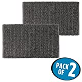 mDesign Soft 100% Cotton Luxury Hotel-Style Rectangular Spa Mat Rug, Plush Water Absorbent, Braided Design- for Bathroom Vanity, Bathtub/Shower, Machine Washable - 34'' x 21'' - Pack of 2, Charcoal