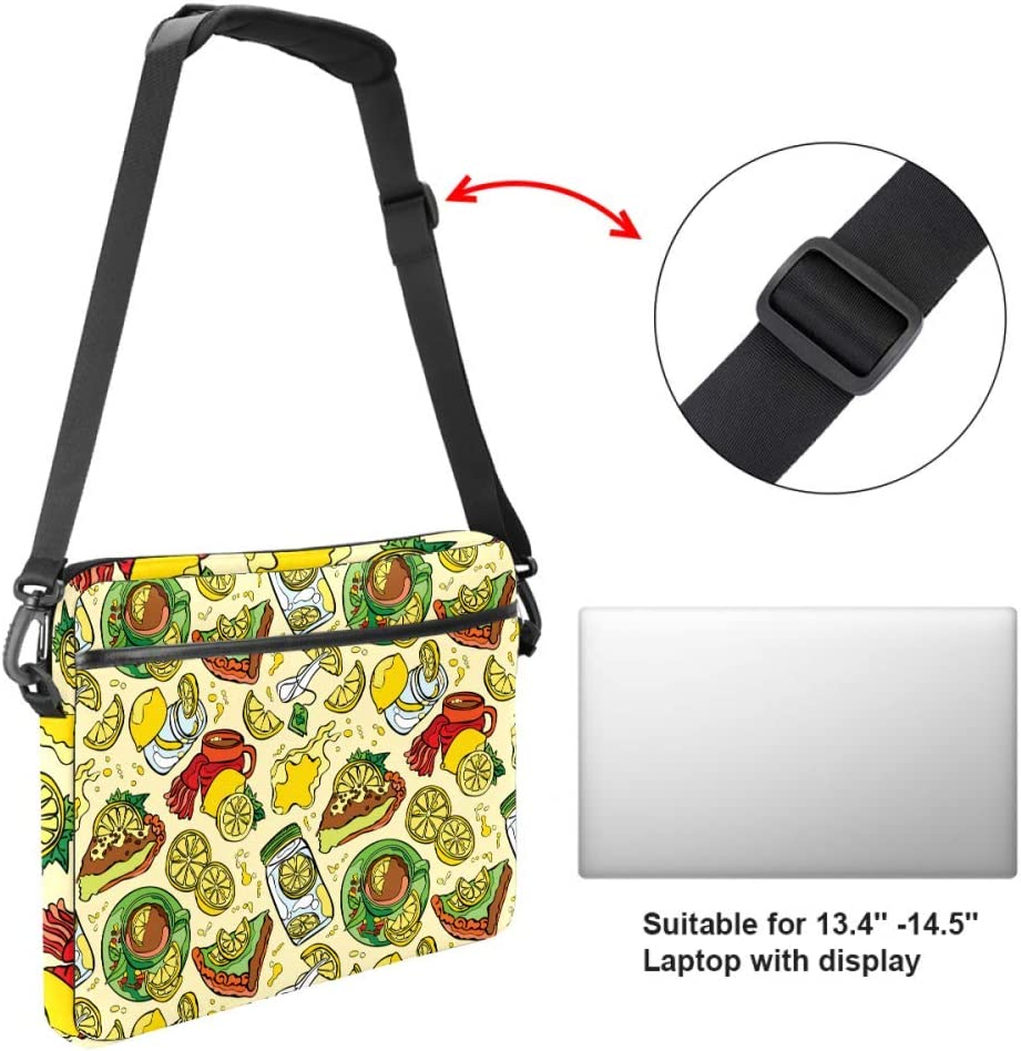 Laptop Bag Satchel Tablet Sleeve Bussiness Shoulder Bag Document Handbag Briefcase 15x5.4 Inch Abstract Pizza Lemon Coffee