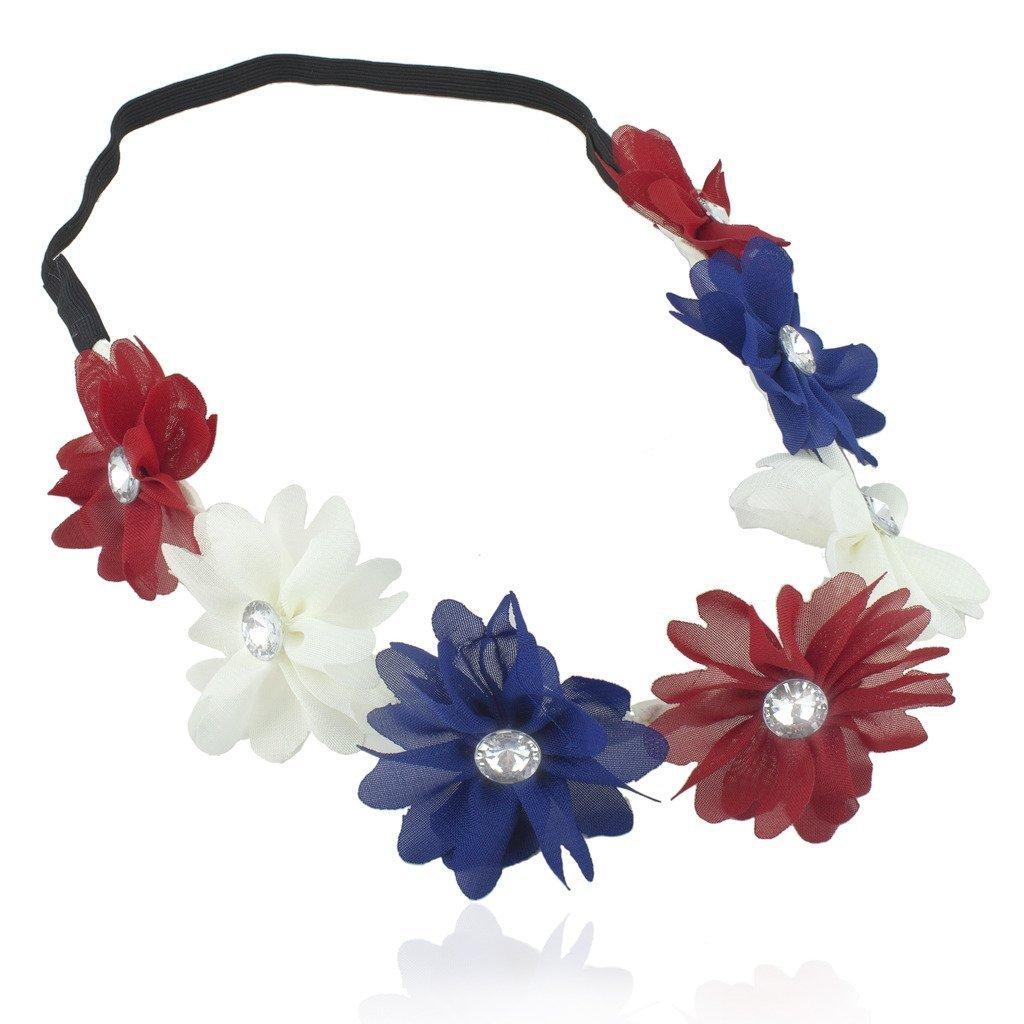Lux accessories womens red white blue american flag patriotic floral lux accessories womens red white blue american flag patriotic floral flower crown stretch headband h31621 54 h190 izmirmasajfo