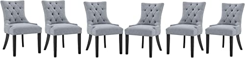 Dining Chairs Set of 6 Gray Fabric Upholstered Dining Chairs Tufted Dining Chairs Parsons Chairs Accent Dining Chairs Living Room Chairs