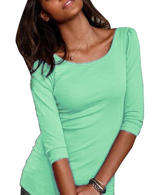 Camisa Mitad Mangas Blusas Para Mujer Color Sólido Escotado Por Detrás Cuello Redondo Camisetas Menta Verde