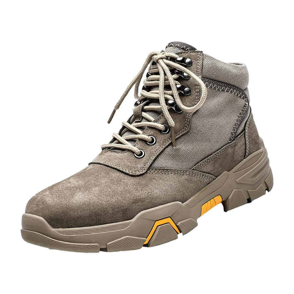 Men Boots Casual, HOSOME Men's Casual Outdoor Tube Boots Wear Non-Slip Tooling Military Breathable Boots Khaki by HOSOME Men Shoes