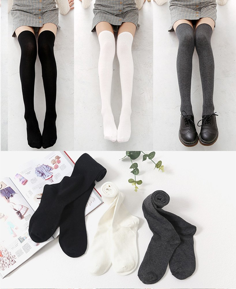 Chalier 3 Pairs Womens Long Socks Over Knee Stockings, White, Gray, Black, OS by Chalier (Image #5)