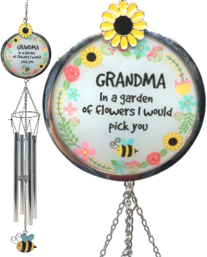 BANBERRY DESIGNS Grandmother Wind Chimes - Loving Saying Grandma in a Garden of Flowers I Would Pick You - Colorful Bee, Sunflower and Floral Design - Approx. 20 Inches Long
