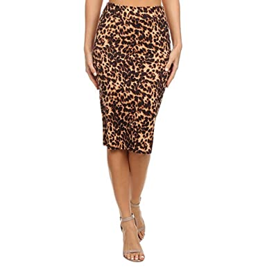 11cffda914c E.JAN1ST Women s Pencil Skirts High Waist Slim Stretchy Knee Length Leopard  Skirt