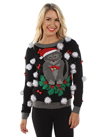 Tipsy Elves Womens Ugly Christmas Sweater Cat Sweater With Bells