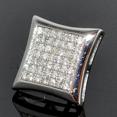 Single Diamond Stud Earrings Men's XL Big 15mm Kite Shaped 14K White Gold 0.5ct