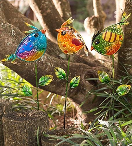 Wind /& Weather Colorful Glass Bird Garden Stakes Set of 3