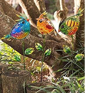 Wind U0026 Weather Colorful Glass Bird Garden Stakes, ...