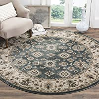 Safavieh Lyndhurst Collection LNH332T Traditional Oriental Teal and Cream Round Area Rug (7 Round)