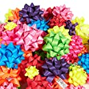 120-Count Gift Wrap Bows - Gift Bows Peel and Stick Self Adhesive Gift Ribbon Bows - Perfect for Christmas, Birthday, All Occasions - Matte, Includes Large, Medium, Small Sizes, 8 Assorted Neon Colors
