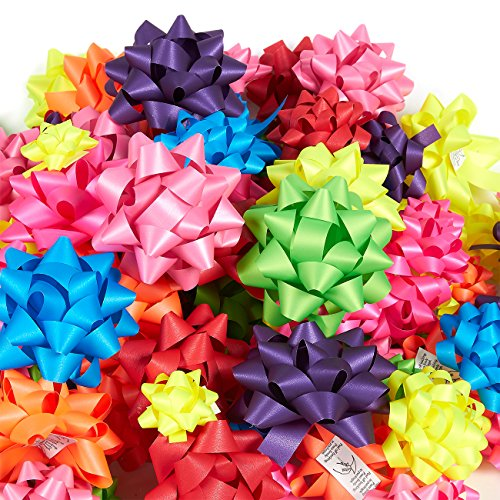 120-Count Gift Wrap Bows - Includes Large, Medium, Small Sizes - Perfect for Christmas - Peel and Stick, Matte, Assorted Neon Colors - Occasion Gift Bow