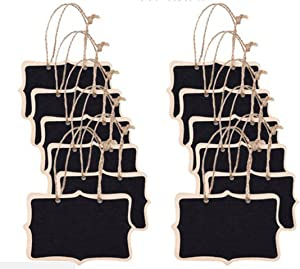 Aircoo Pack of 12pcs Mini Hanging Wooden Chalkboards Erasable Double Sided Blackboard with String for Message Board Signs Party Labels Wedding