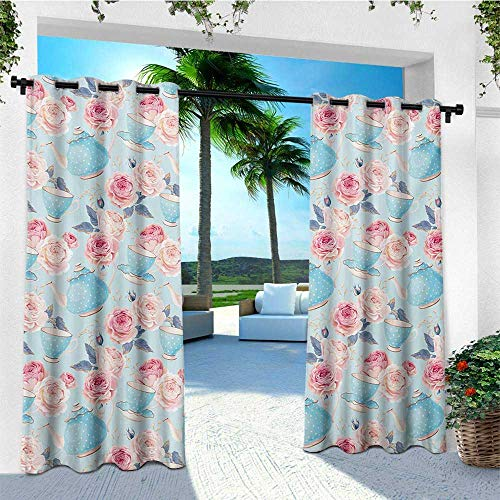 (leinuoyi Vintage, Outdoor Curtain Extra Long, Flowers Roses Vintage Teapot Cups Leaves with Blue Backdrop Artsy, for Patio Furniture W120 x L108 Inch Baby Blue and Pale Pink)