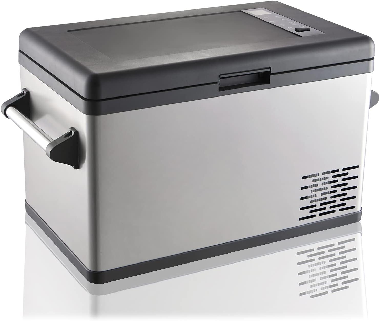 Portable Electric Cooler 37 Quart Car Freezer 12/24V DC 110~240 Volt AC Refrigerator for Camping,Travel, Road Trip,Home