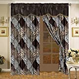 4 Piece Brown / Black Animal Leopard Print Microfur Curtain set with attached Valance and Sheers