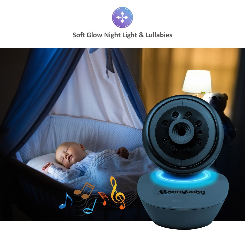Video Baby Monitor 2 Cameras, Split Screen by Moonybaby, Pan Tilt Camera, 170 Degree Wide View Lens Included, 4.3 inches Large Monitor, Night Vision, Temperature, 2 Way Talk Back, Long Range by moonybaby (Image #4)