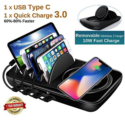 Wireless Charging Station Dock Multiple Devices Charging