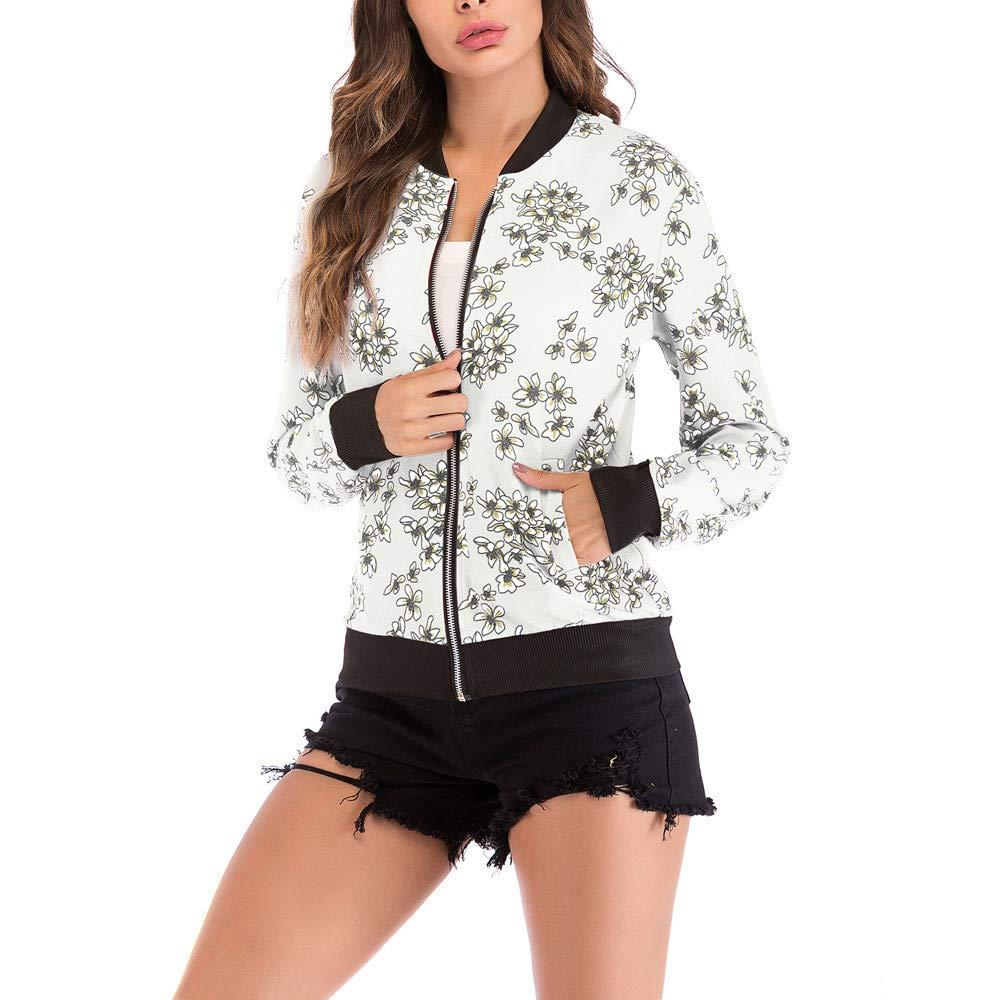 Chaqueta de Mujer de BaZhaHei, Blusa Estampada Floral de Moda Béisbol de la Moda Abrigo Chaqueta de Cremallera con Cuello en V Cremallera de impresión ...