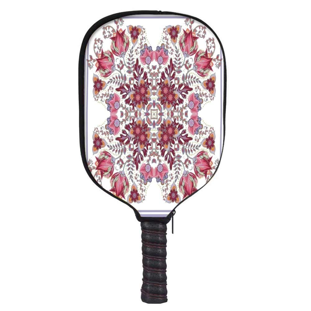MOOCOM Batik Decor Fashion Racket Cover,Vintage Colored Spring Inspired Blooming Floral Motif Oriental Lace Bridal Art for Playground,8.3'' W x 11.6'' H