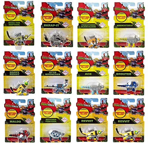 Dinotrux Reptool Rollers Set of 12 Dinosaur Rolling Vehicles Revvit, Click Clack, Skrap-It, Waldo, Mother Tortool, Wrenchtools, Grouter, Buzz, Ace, Otto Wrenches, Happy Revvit Toy Bundle Collection
