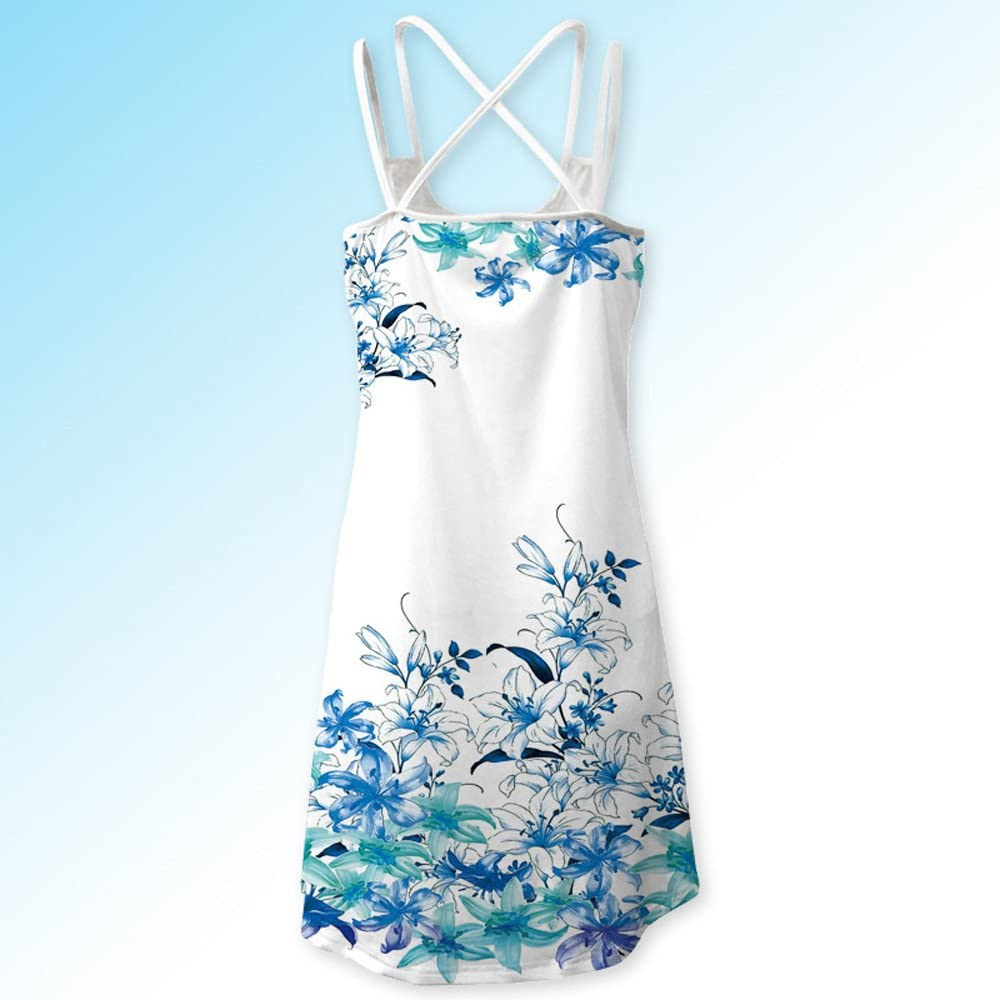 Womens Summer Dresses Casual Sleeveless Tie-Dyed Lace Mini Dress Loose Short Dress Tunic Tank Dress for Ladies Teen Girls Holiday Beach Sundress Evening Party Cocktail