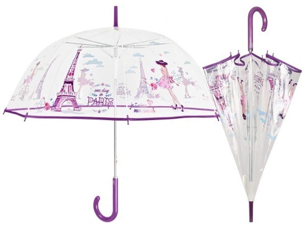 Ten Ombrello Donna Cupola Automatico Trasparente con Stampa Parigi - cod. HU00430XX - LUN.89 cm - Lar.89 cm - Ø89 cm by Varotto & Co.